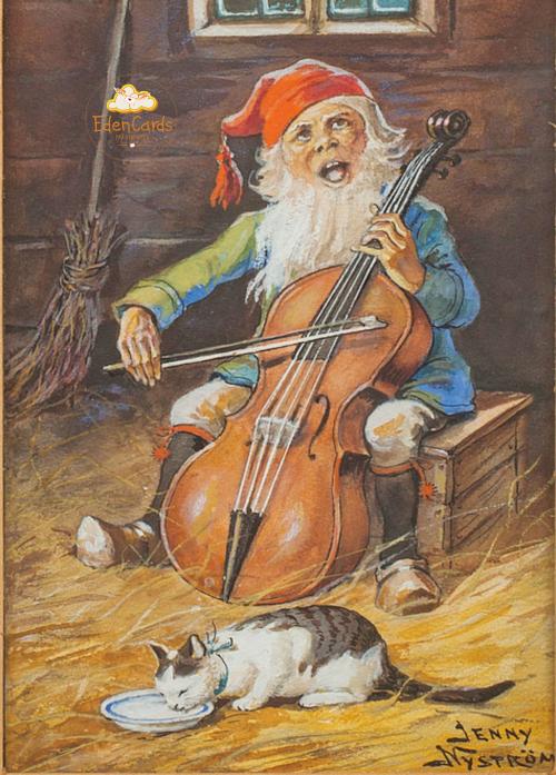Санта Клаус играющий на виолончели