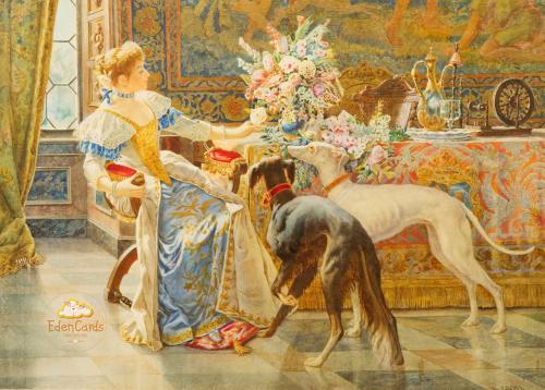 Портрет леди с двумя собаками
