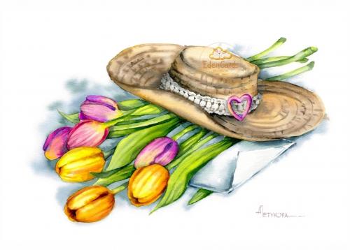 Шляпа с тюльпанами