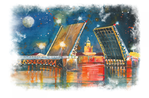 Дворцовый мост. Ночь. г.Санкт-Петербург